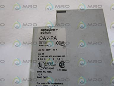 Schuh CA7-PV-20 Auxiliary Contact Block Front Mount 690VAC Max Details about  /Sprecher 10A
