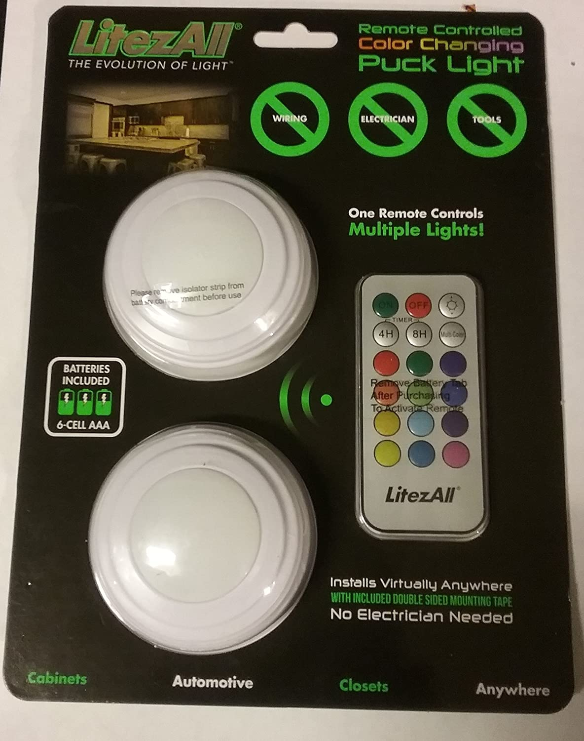 Promier LitezAll Wireless Remote Controlled Color Changing Puck Light Set