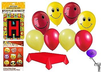 Amazon.com: 16 ct apoyos de la foto con 2 de fiesta de Emoji ...
