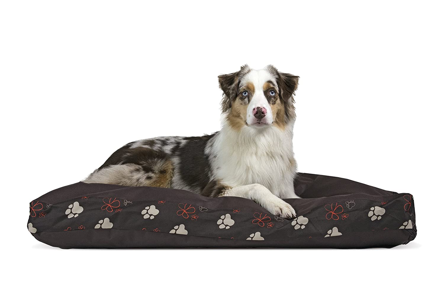 Furhaven Pet Dog Bed   Deluxe Polycanvas Indoor Outdoor Water-Resistant Garden Pillow Pet Bed for Dogs & Cats, Bark Brown, Large