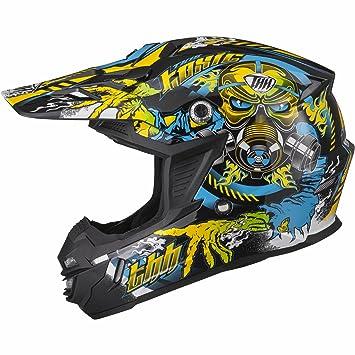Casco de Motocross, Talla XS, Color Negro/Amarillo/Azul, de THH