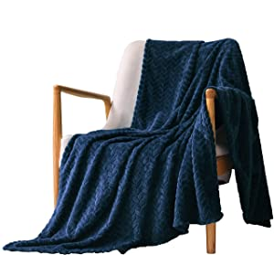 """Exclusivo Mezcla Large Flannel Fleece Throw Blanket, Jacquard Weave Leaves Pattern (50"""" x 70"""", Navy Blue) - Soft, Warm, Lightweight and Decorative"""