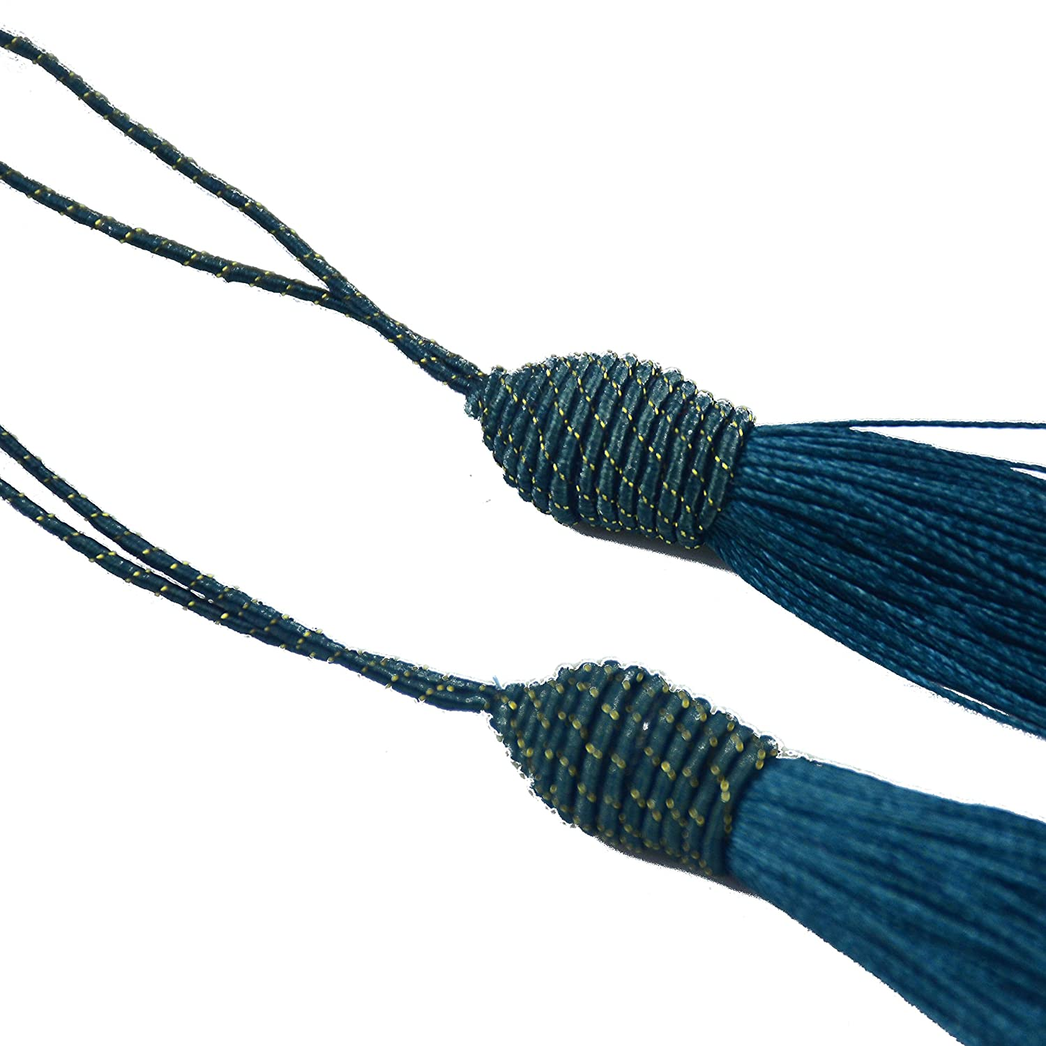 Makhry 20pcs 15.5cm//6 Inch Silky Floss Bookmark Tassels with 2-Inch Cord Loop and Small Chinese Knot for Jewelry Making Bookmarks Souvenir Dark Blue DIY Craft Accessory