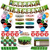 Pixel Style Gamer Party Supplies, Miner Theme Birthday Party Favors and Decors Set Includes Banner – 20 Balloons – Cake Topper – 24 Cupcake Toppers – 9 Party Hats - 20 Gift Tags