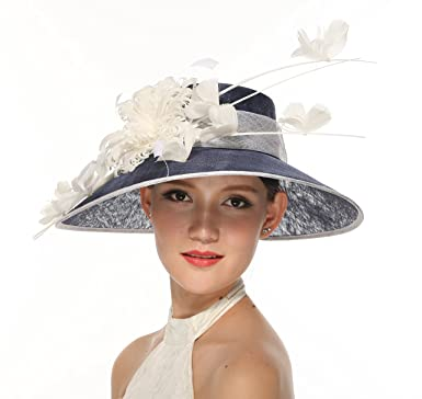 0f70671b953d4 Image Unavailable. Image not available for. Color  Church Kentucky Derby  Carriage Tea Party Wedding Wide Brim Woman s Royal Ascot Hat in Solid  Sinamay