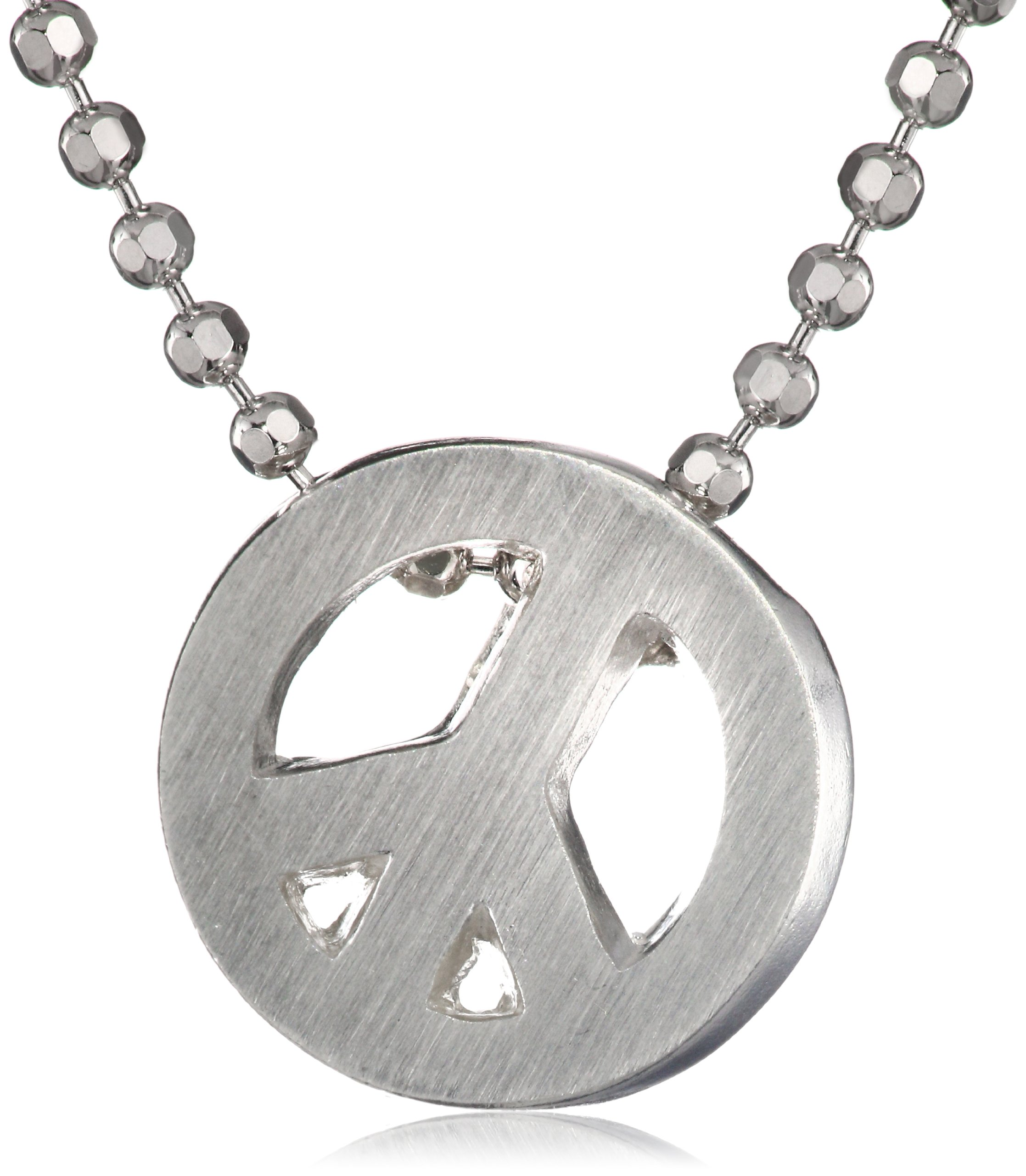 Alex Woo Little Faith Sterling Silver Peace Sign Pendant Necklace by Alex Woo (Image #1)