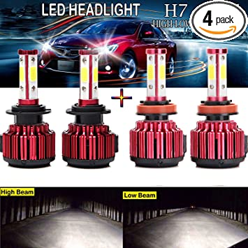 9005+9006 4PCS CREE COB LED 400W 40000LM Combo Headlight High+Low Beam For GMC
