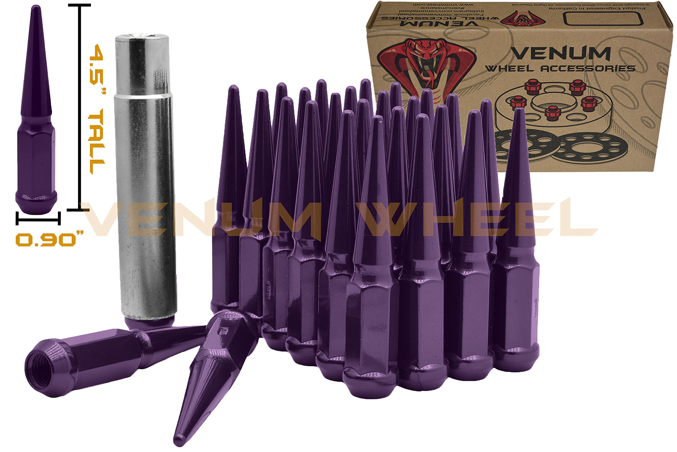 32 Pc Purple M14x1.5 Thread 4.5'' Tall Spike Lug Nuts Aftermarket Wheels Acorn Heavy Duty USA Made Ford Dodge Chevrolet   Lugs Include Removal Locking Security Socket by Venum wheel accessories