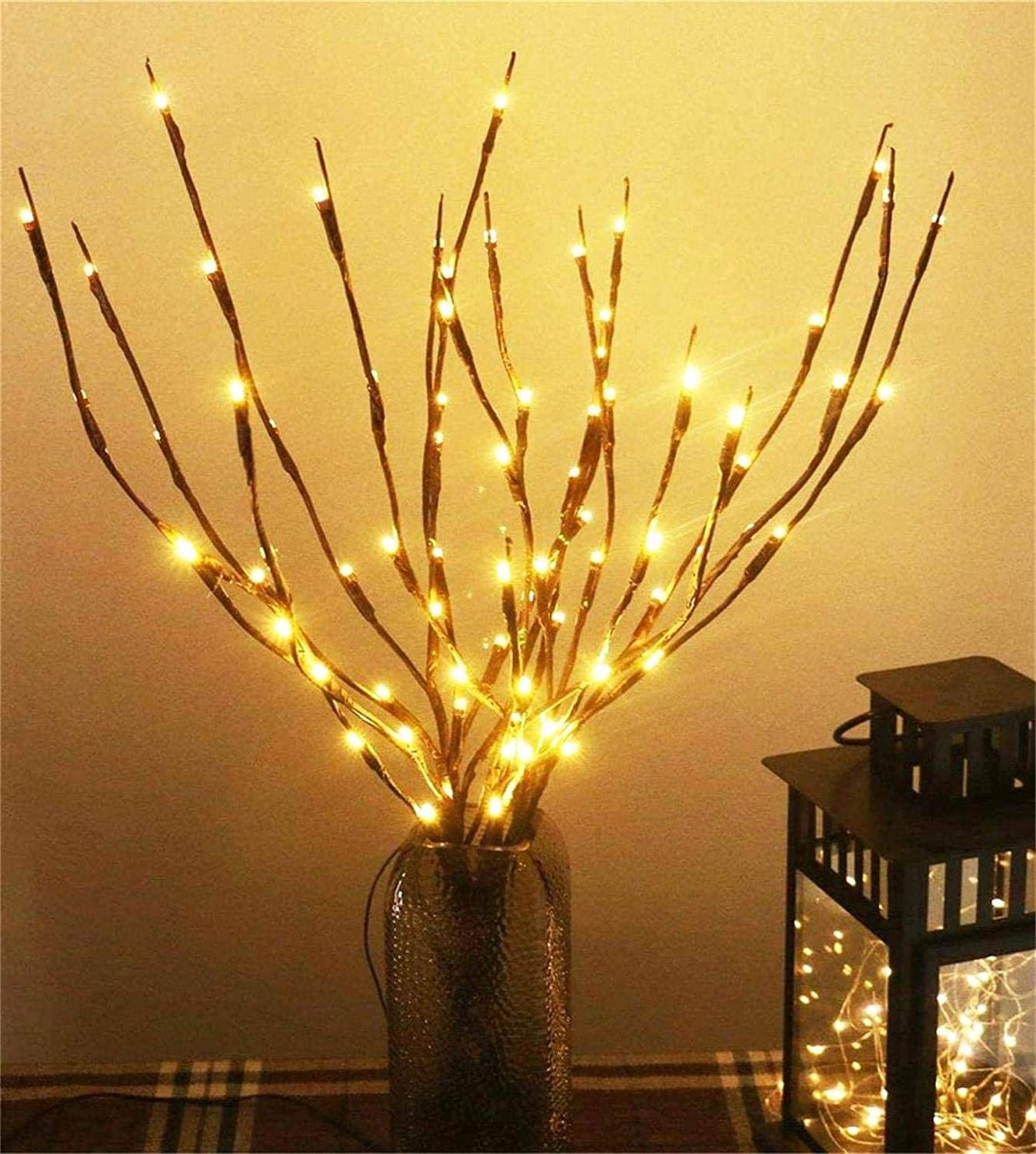 AMARS 3 Pack Lighted Branches with Timer Battery Powered 8 Modes Decorative LED Twig Branch Lights Home Decoration for Living Room Floor Vase Christmas (29inch, 60leds, Auto 6H ON/18H Off, Warm White)