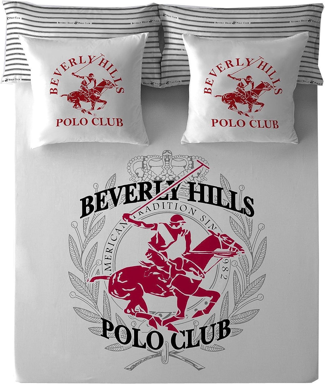 Beverly Hills Polo Club Los Ángeles Juedo de Sábanas, Blanco/Rojo ...