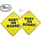 Now with 4 Stronger Suction Cups (2 Bonus Ones). Baby on Board car Sign with Suction Cup. Heat Resistant and Very Effective Suction Cup.