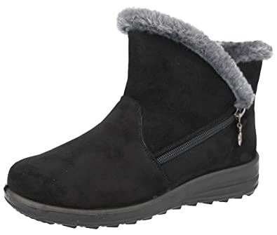 Ladies Black Fleece Lined Winter Ankle Boots Faux Leather Zip Up Warm Shoes 3-8
