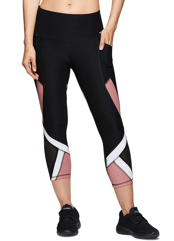 RBXアクティブレディースCapri Legging with Mesh Inserts and Xストラップ B07D5P8H9S X-Large|Lace Black Lace Black X-Large