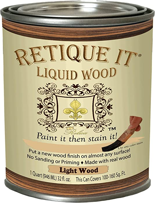 Retique It Chalk Furniture Paint by Renaissance Works on Virtually Any Interior or Exterior Hard Surface, 32 oz (Quart), 81 Lightwood