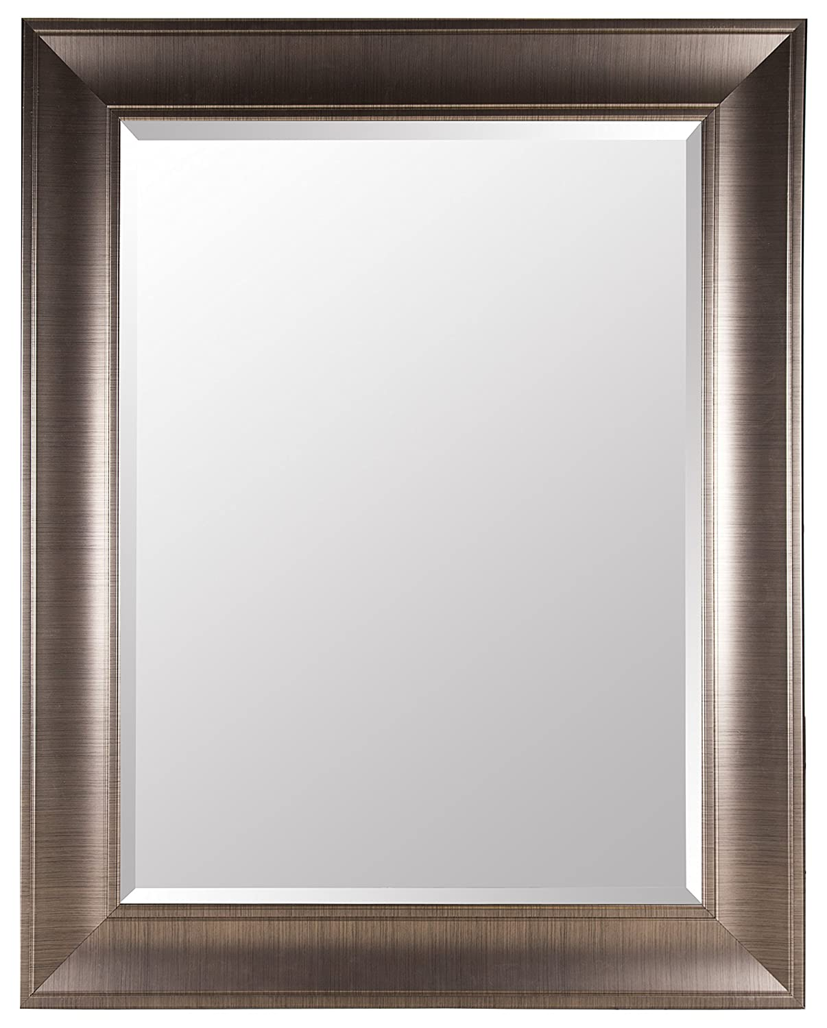 Gallery Solutions Large 39X49 Beveled Mirror with 5 Inch Frame In Brushed Nickel #16FP1799 Pinnacle Frames