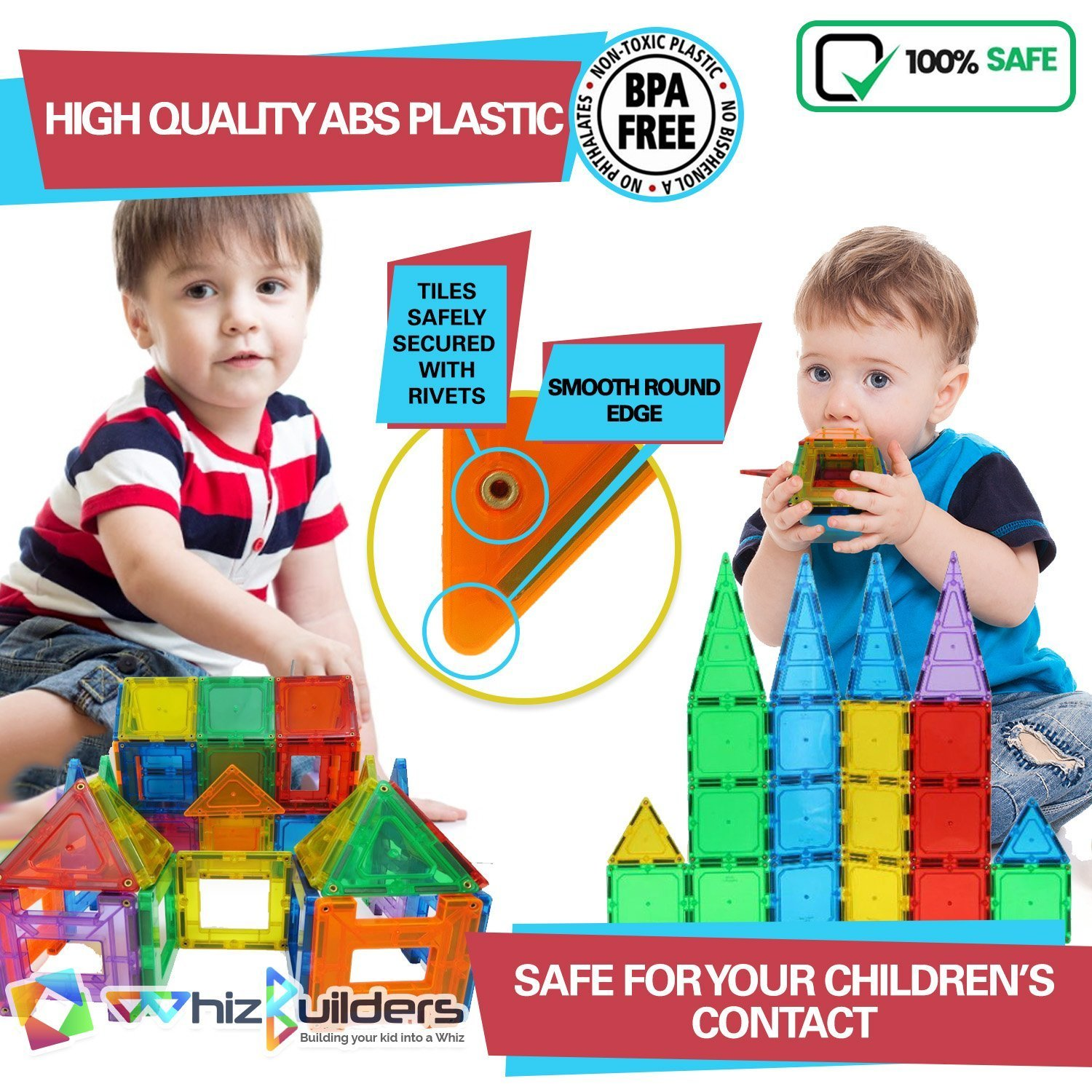 Magnetic Building Tiles Toys Set - Tiles Block Toy Kit for Kids - STEM Educational Construction Stacking Shapes - 60 Pieces by WhizBuilders (Image #2)