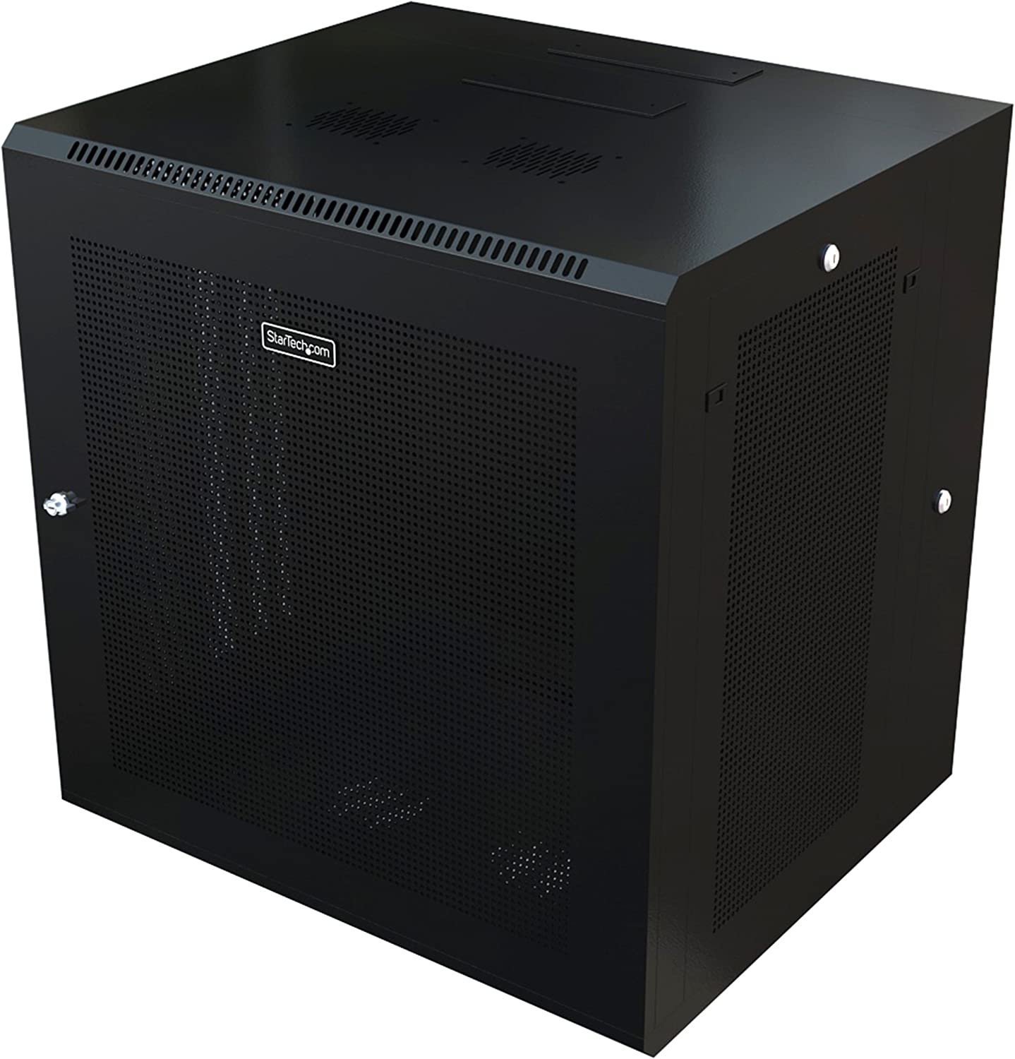 "StarTech.com 12U 19"" Wall Mount Network Cabinet - 20"" Deep 4 Post Hinged Locking IT Computer Equipment Enclosure w/Shelf - Flexible Vented Switch Depth Data Rack Cisco 3850, 2960 Series (RK1224WALHM)"