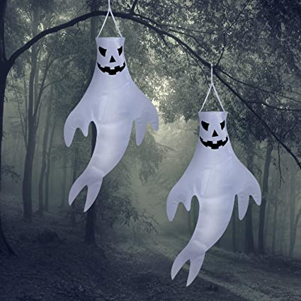 2 Pieces NUOBESTY Halloween Windsocks Hanging Ghost Windsocks for Halloween Outdoor Front Yard Patio Lawn Hanging Decoration