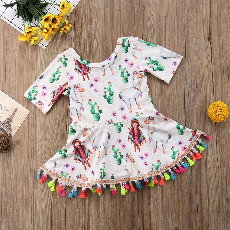f5a983f15 Amazon.com: Toddler Baby Kids Girl Tassel Short-Sleeve Dress Cactus Cartoon  Animals Tutu Skirt Outfit: Clothing