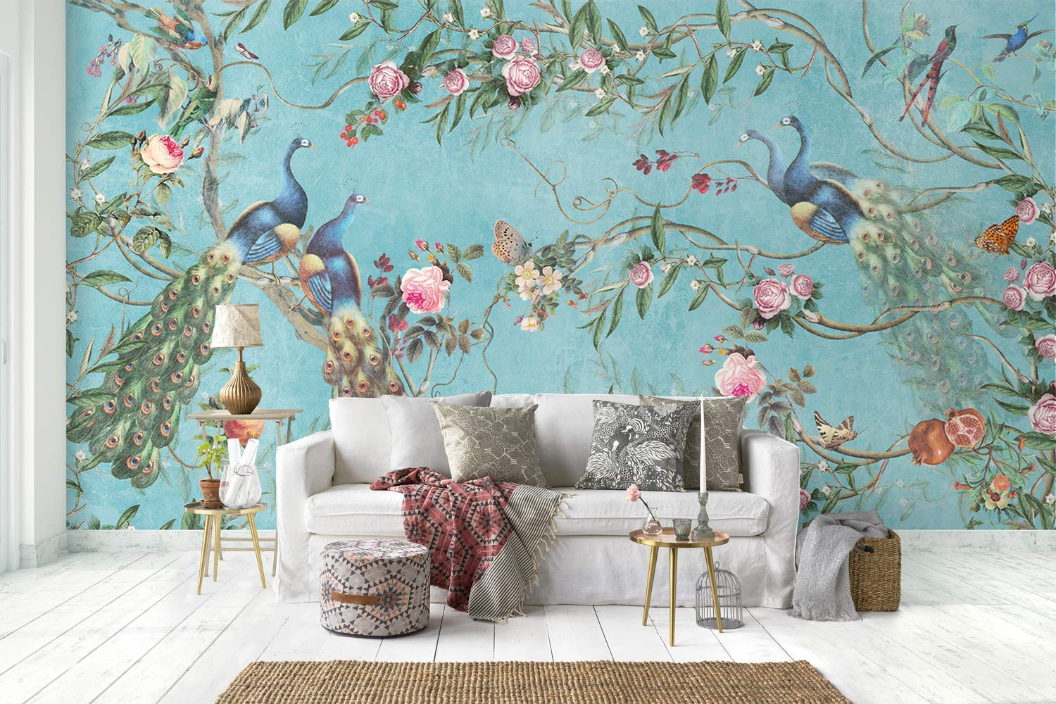 Amazon Com Murwall Peacock Wallpaper Peony Blossom Wall Mural