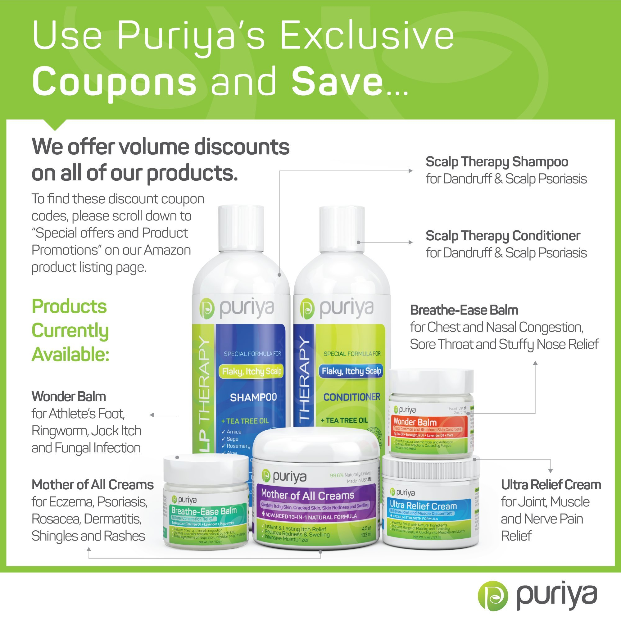 Puriya Sulfate Free Anti Dandruff Shampoo with Tea Tree Oil. 16 oz. Moisturizing and Gentle for Daily Use. Combats itchy, Flaky, Dry Scalp. Ideal for Psoriasis, Seborrheic Dermatitis, scalp eczema by Puriya (Image #6)
