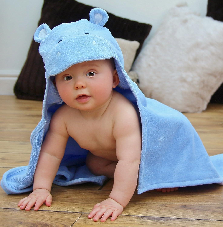 Bathing Bunnies Serviette de bain pour b/éb/é avec capuche hippopotame Bleu ciel