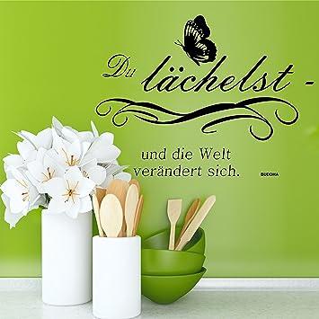 Greenluup® Wandtattoo Sprüche Buddha Glück Motivation In Schwarz Mit  Schmetterling Wohnzimmer, Küche, Schlafzimmer