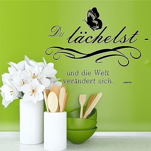Greenluup® Wandtattoo Sprüche Buddha Glück Motivation In Schwarz