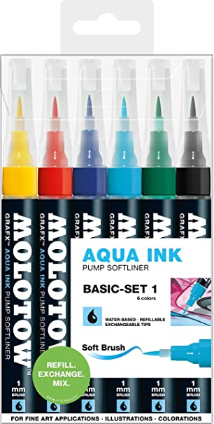 BASIC SET 1 WATER BASED MARKER SET MOLOTOW GRAFX AQUA TWIN 6 PIECE TWIN TIP