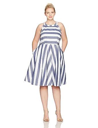 bf12a3e1b42 Eliza J Women s Plus Size Stripe Fit   Flare Dress at Amazon Women s  Clothing store