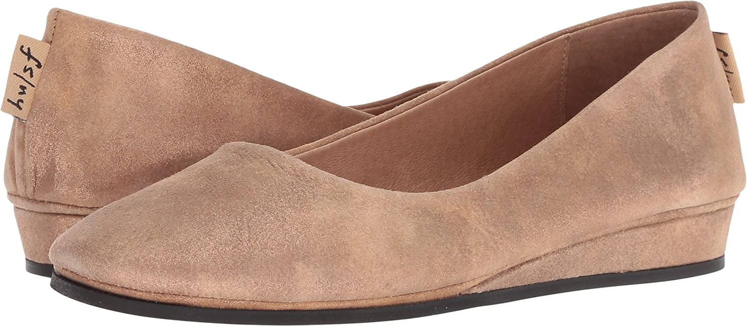 French Sole Women's Zeppa Slip on Shoes B07BWKF4YY 9.5 B(M) US|Caramel Metallic Suede