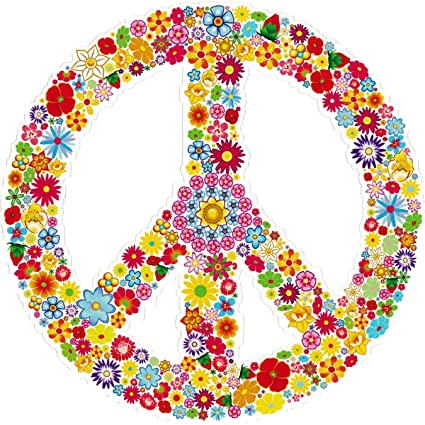 Amazon Peace Sign Symbol Hippie Love Floral 60s Window Sticker