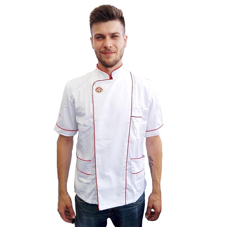Petersabitidalavoro Giacca,PIZZA,CUOCO,ristorante, Cucina Panettiere Cotone Chef Made in Italy (BIANCO)