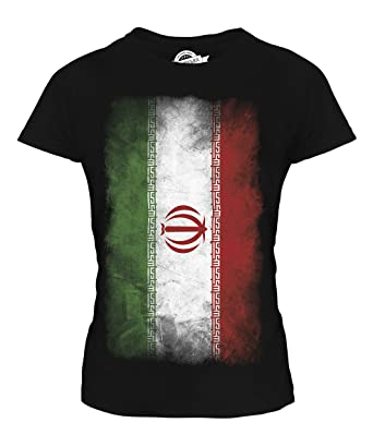 e50706dfe Amazon.com  CandyMix Women s Iran Faded Flag T Shirt Fitted T-Shirt ...