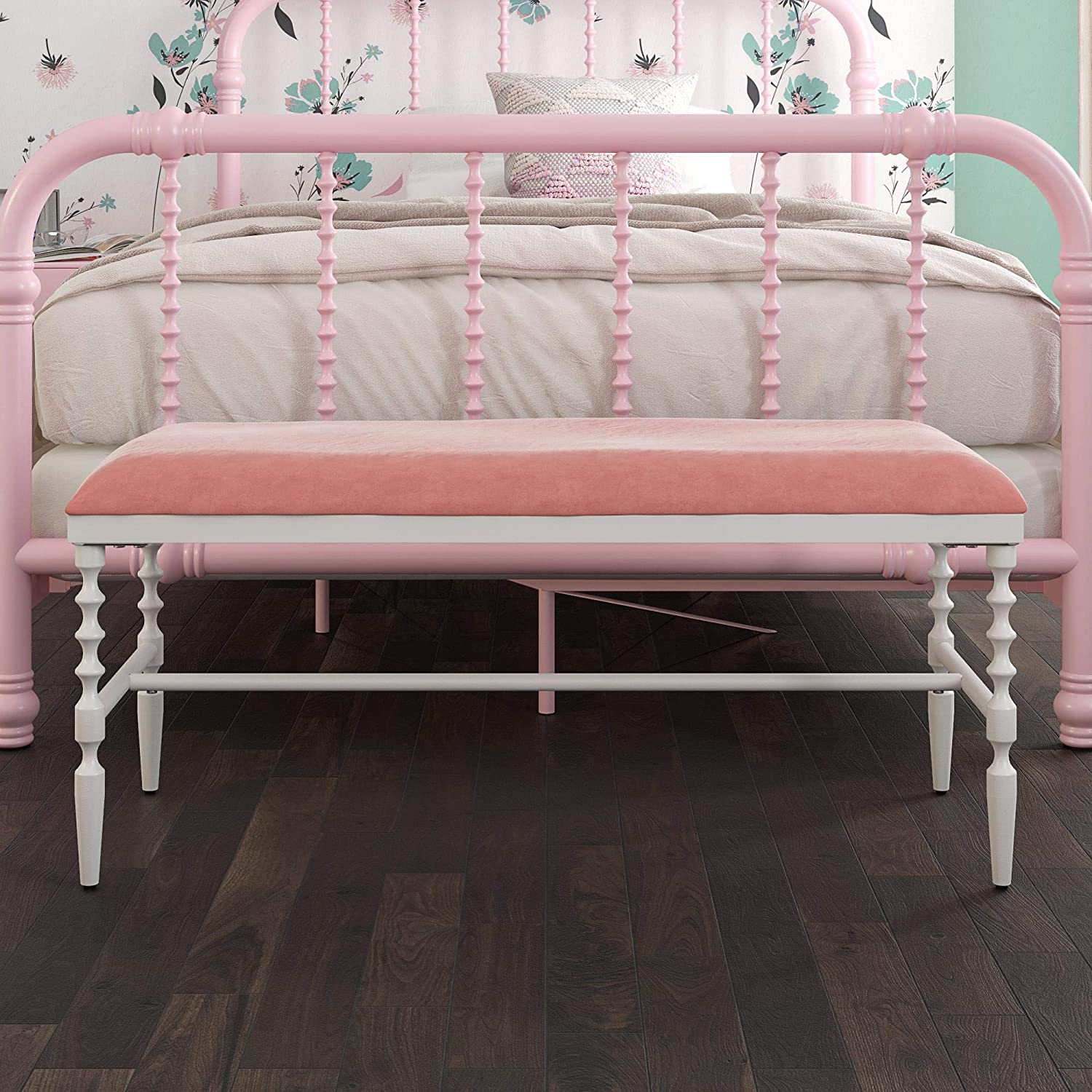 DHP Evin Chic Bench, Upholstered Seat with Cushion, Pink