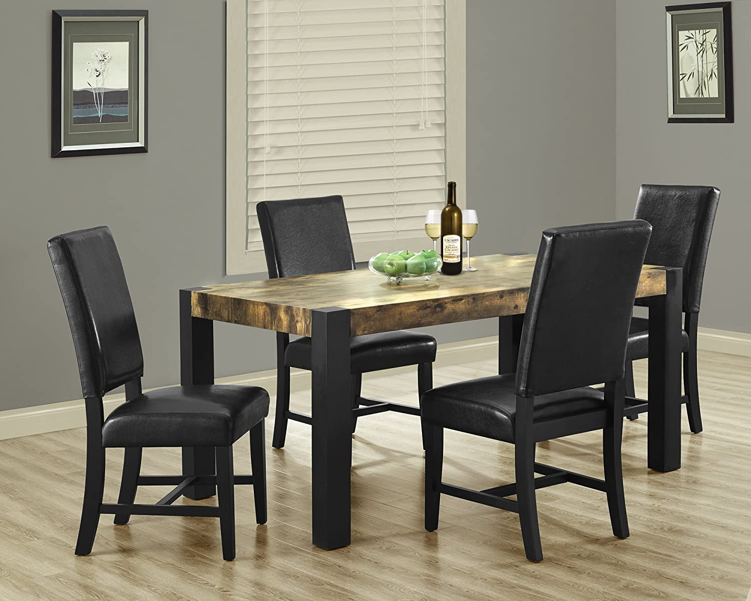 Distressed Black Kitchen Table Amazoncom Monarch Specialties Distressed Reclaimed Look Black