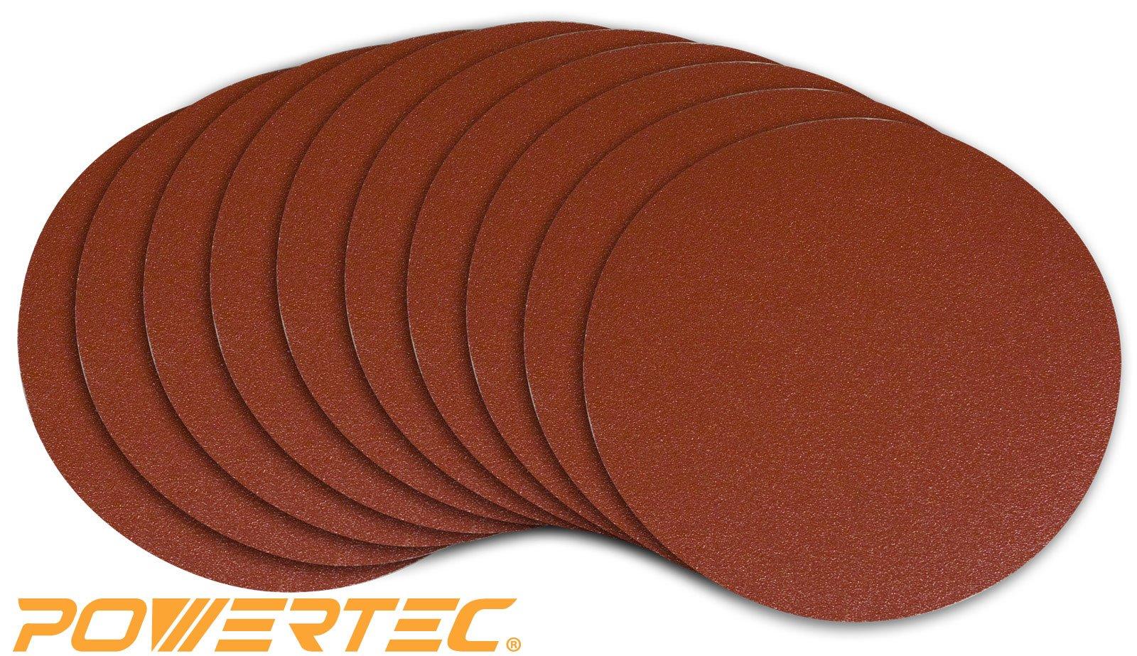 POWERTEC 110550 8'' PSA 80 grit Aluminum Oxide Adhesive Sanding Disc, 10 Pack