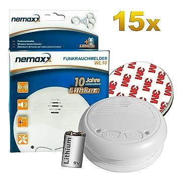 15x Nemaxx WL10 Detector de Humo inalámbrico - con 10 años de batería de lítio- de Acuerdo con la Norma DIN EN 14604 + 15x Fijación magnética: Amazon.es: ...