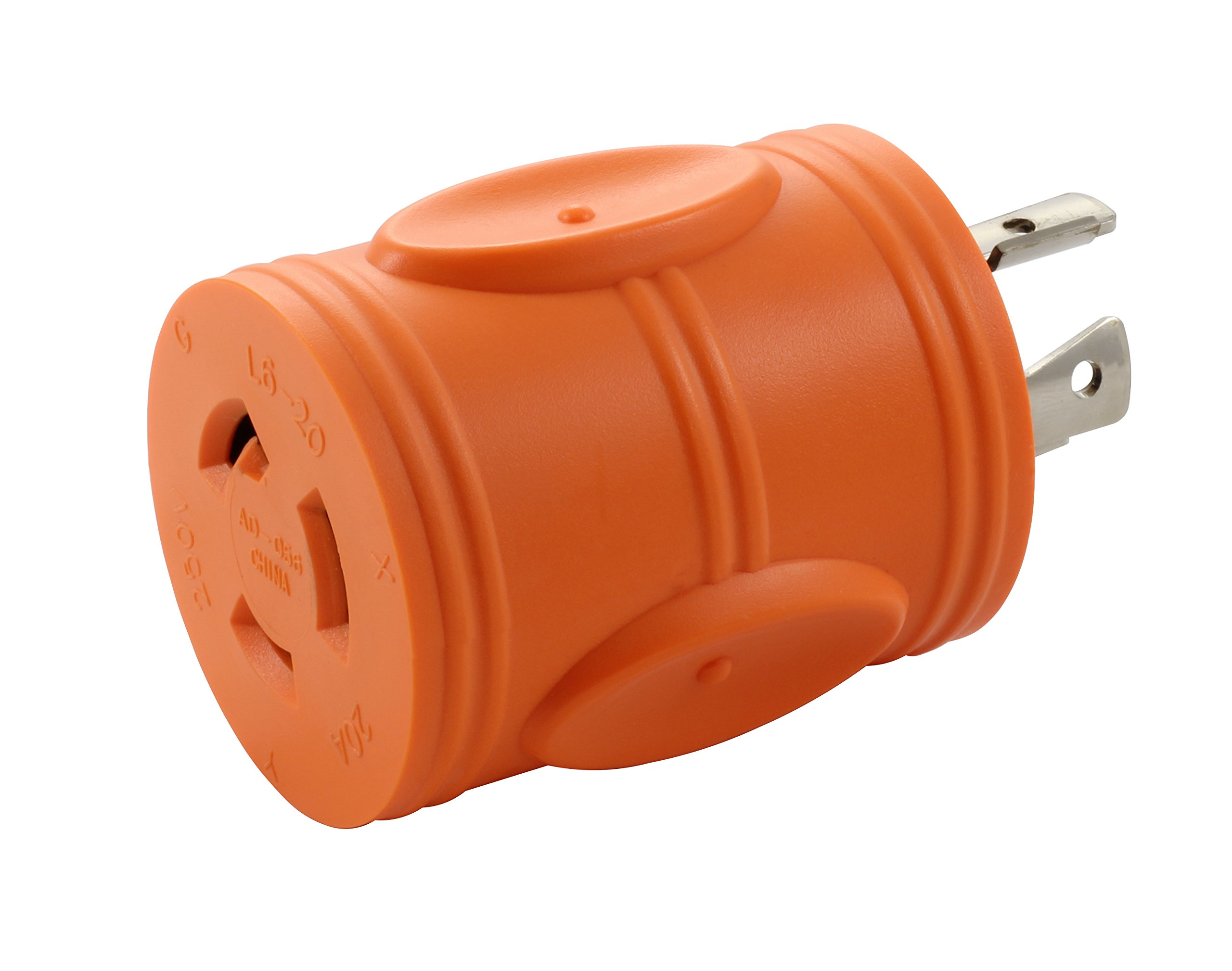 AC WORKS [ADL1420L620] Locking Adapter 4Prong 20Amp 125/250Volt NEMA L14-20P Locking Plug to L6-20R 20Amp 250Volt Locking Female Connector