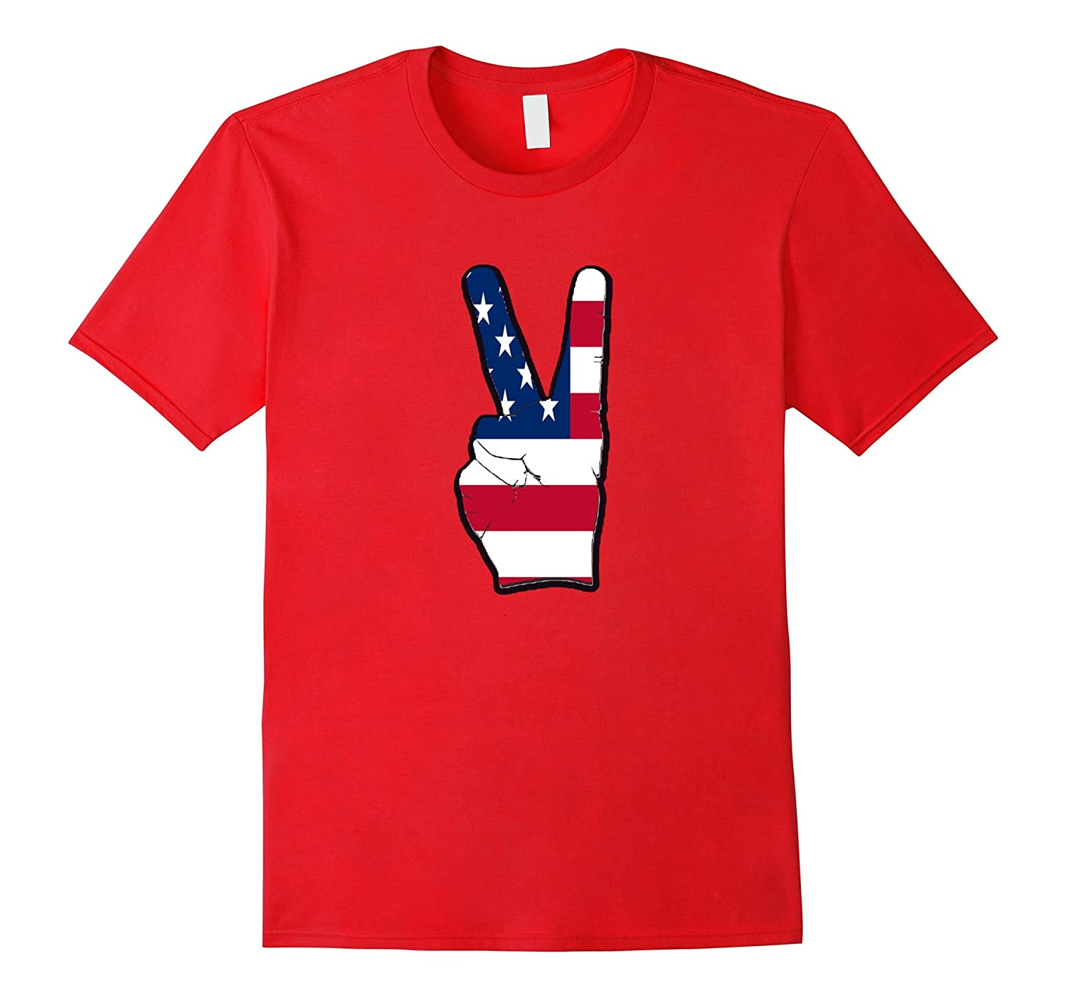 4th of July Shirt American Flag Peace Sign Tee-Art