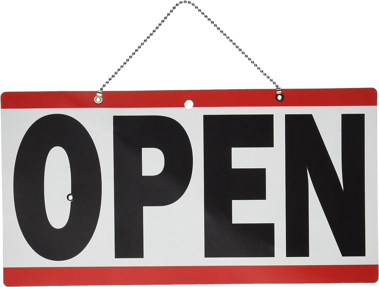 2 SIDED HILLMAN OPEN CLOSED HANGING DOOR WINDOW SIGN ADJUSTABLE CLOCK PLASTIC