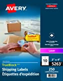 """Avery Shipping Labels with TrueBlock Technology for Laser Printers, 2"""" x 4"""", White, Rectangle, 250 Labels, Permanent (5263) Made in Canada"""