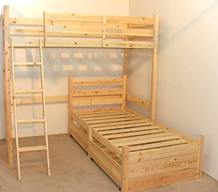 L Shaped 3ft Bunkbed With Two Sprung Mattresses Wooden Lshaped Bunk