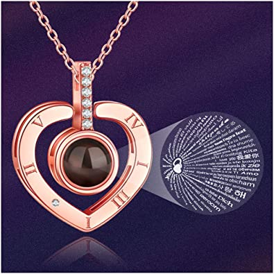 cffbc24c7 M MOOHAM Heart Projection Necklace - 100 Languages I Love You Necklace  Valentine's Day for Women