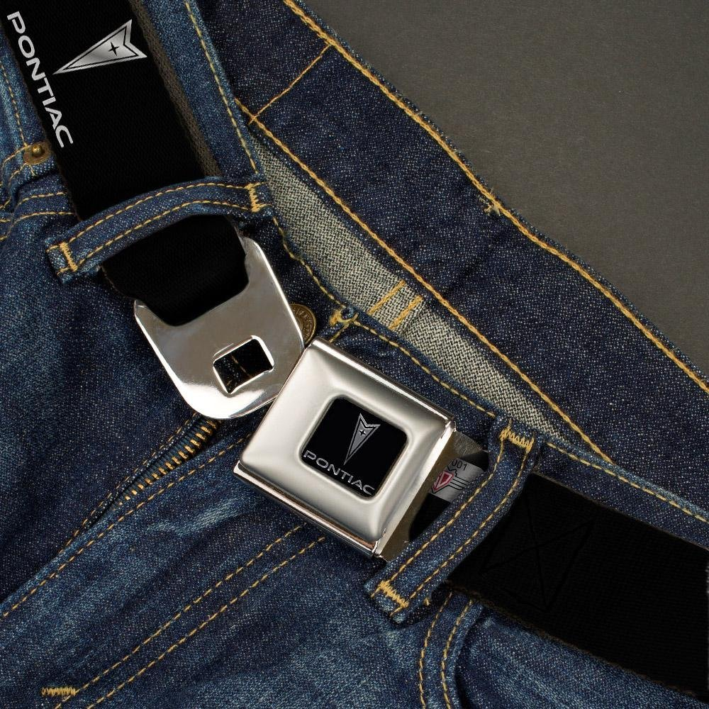 Pontiac Black//Silver Logo REPEAT Buckle-Down Seatbelt Belt 1.0 Wide 20-36 Inches in Length