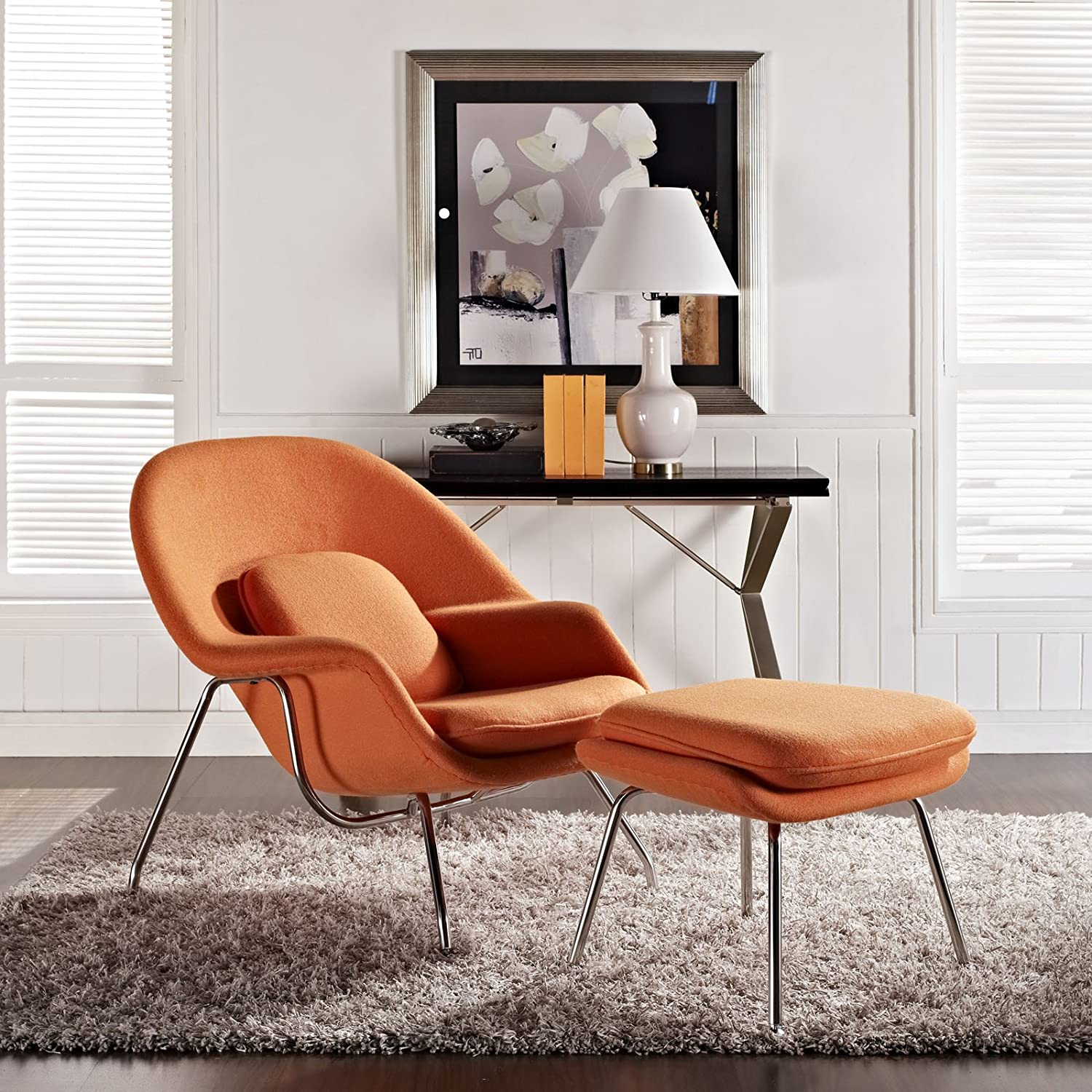 Design Womb Chair amazon com modway eero saarinen style womb chair and ottoman set in orange kitchen dining