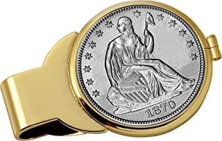 product image for Coin Money Clip - Silver Seated Liberty Half Dollar | Brass Moneyclip Layered in Pure 24k Gold | Holds Currency, Credit Cards, Cash | Genuine U.S. Coin | Includes a Certificate of Authenticity