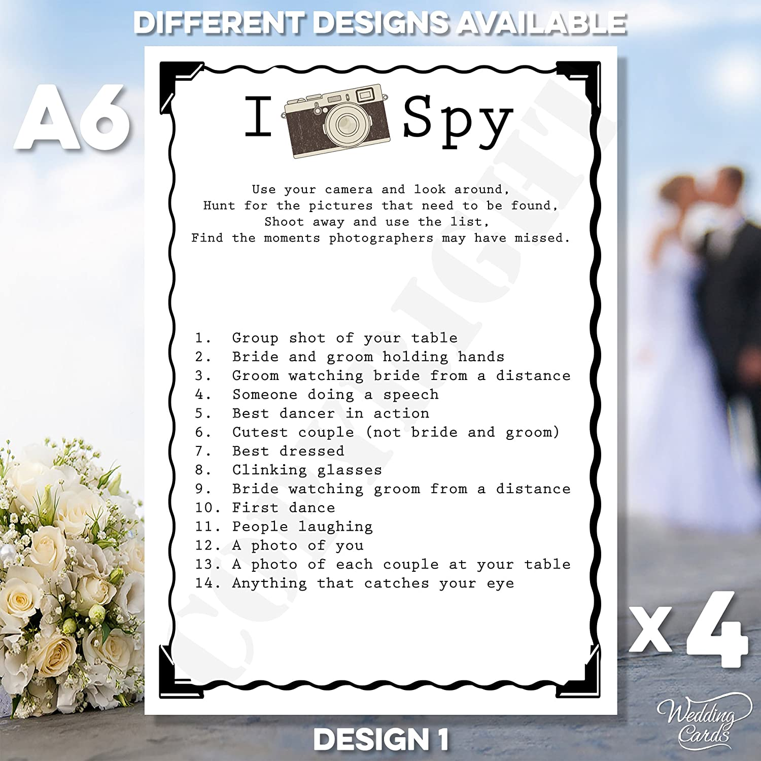 4 x Wedding I Spy Game Camera Kids Table Activity Favour Personalised Wedding Novelty Keepsake Shabby Chic Vintage Sign Poster Children Memory Ceremony Any Size Any Colour Any Text Cards A4 A5 A6 A7 Wedding Cards