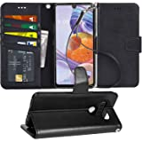 Arae Case for LG Stylo 6 PU Leather Wallet Case Cover [Stand Feature] with Wrist Strap and [4-Slots] ID&Credit Cards Pocket f