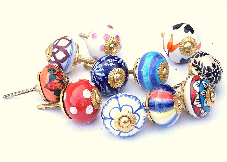 10 Set Indien sortiert Multicolor Keramik Schubladen Knäufe Tür ...